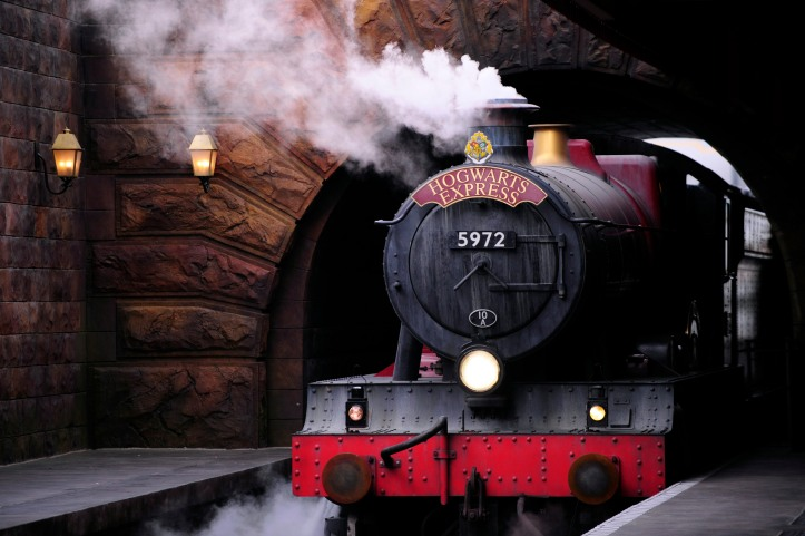 The Hogwarts Express train, which connects the Universal Studios with neighboring Islands of Adventure, pulls into the Hogsmeade Station during a media preview for The Wizarding World of Harry Potter-Diagon Alley at the Universal Orlando Resort in Orlando